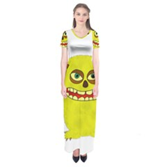 Monster Troll Halloween Shudder Short Sleeve Maxi Dress