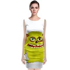 Monster Troll Halloween Shudder Sleeveless Velvet Midi Dress