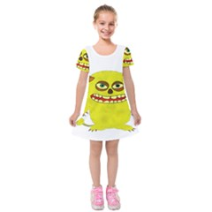 Monster Troll Halloween Shudder Kids  Short Sleeve Velvet Dress