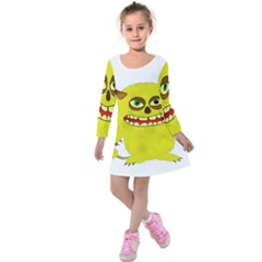 Monster Troll Halloween Shudder Kids  Long Sleeve Velvet Dress