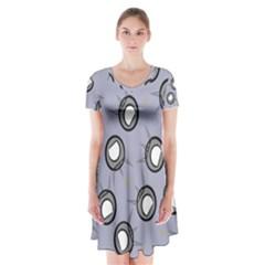 Rocket Ship Wallpaper Background Short Sleeve V-neck Flare Dress