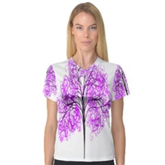 Purple Tree Women s V-Neck Sport Mesh Tee