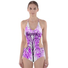 Purple Tree Cut-Out One Piece Swimsuit