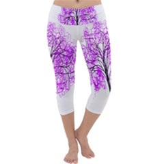Purple Tree Capri Yoga Leggings