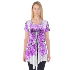 Purple Tree Short Sleeve Tunic