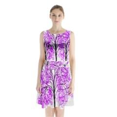 Purple Tree Sleeveless Chiffon Waist Tie Dress