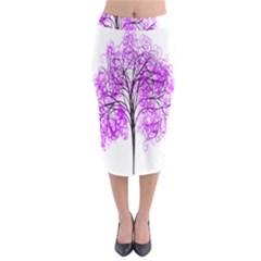 Purple Tree Midi Pencil Skirt