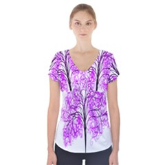 Purple Tree Short Sleeve Front Detail Top