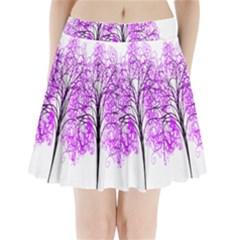 Purple Tree Pleated Mini Skirt