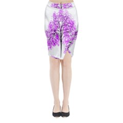 Purple Tree Midi Wrap Pencil Skirt