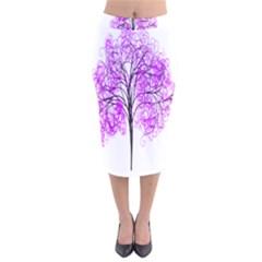 Purple Tree Velvet Midi Pencil Skirt