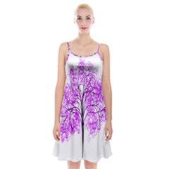 Purple Tree Spaghetti Strap Velvet Dress