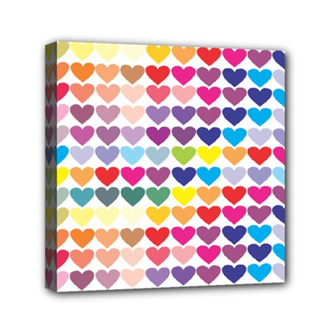 Heart Love Color Colorful Mini Canvas 6  x 6