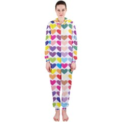 Heart Love Color Colorful Hooded Jumpsuit (Ladies)