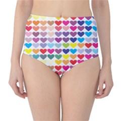 Heart Love Color Colorful High-Waist Bikini Bottoms