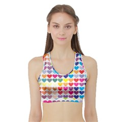 Heart Love Color Colorful Sports Bra with Border