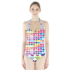 Heart Love Color Colorful Halter Swimsuit