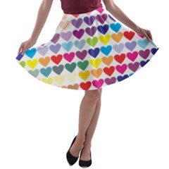 Heart Love Color Colorful A-line Skater Skirt