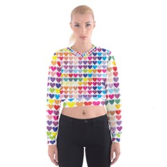 Heart Love Color Colorful Women s Cropped Sweatshirt