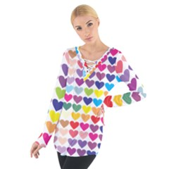 Heart Love Color Colorful Women s Tie Up Tee