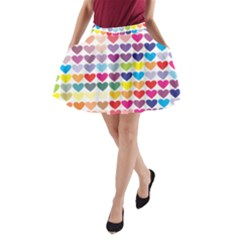 Heart Love Color Colorful A-Line Pocket Skirt