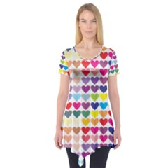 Heart Love Color Colorful Short Sleeve Tunic