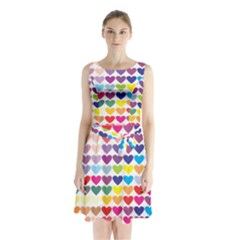 Heart Love Color Colorful Sleeveless Chiffon Waist Tie Dress