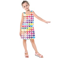 Heart Love Color Colorful Kids  Sleeveless Dress