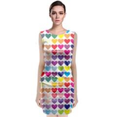 Heart Love Color Colorful Sleeveless Velvet Midi Dress