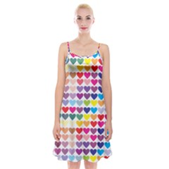 Heart Love Color Colorful Spaghetti Strap Velvet Dress