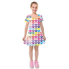 Heart Love Color Colorful Kids  Short Sleeve Velvet Dress
