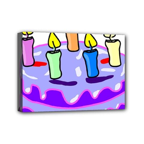 Cake Happy Birthday Mini Canvas 7  x 5