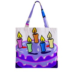 Cake Happy Birthday Zipper Grocery Tote Bag