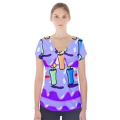Cake Happy Birthday Short Sleeve Front Detail Top