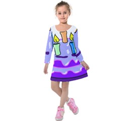 Cake Happy Birthday Kids  Long Sleeve Velvet Dress