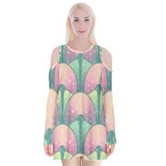 Seamless Pattern Seamless Design Velvet Long Sleeve Shoulder Cutout Dress