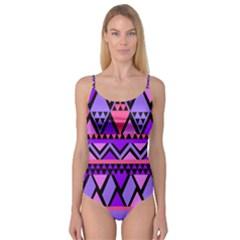 Seamless Purple Pink Pattern Camisole Leotard