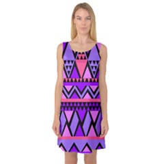 Seamless Purple Pink Pattern Sleeveless Satin Nightdress