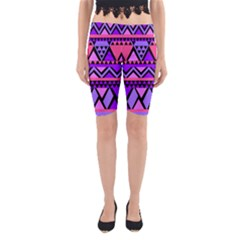 Seamless Purple Pink Pattern Yoga Cropped Leggings