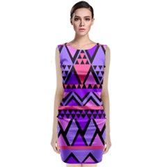 Seamless Purple Pink Pattern Sleeveless Velvet Midi Dress