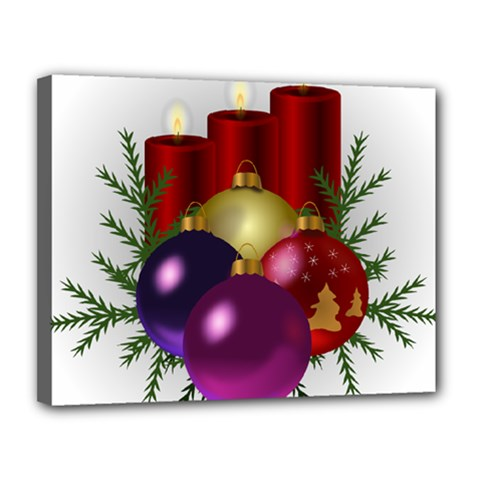 Candles Christmas Tree Decorations Canvas 14  x 11