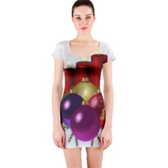 Candles Christmas Tree Decorations Short Sleeve Bodycon Dress
