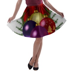 Candles Christmas Tree Decorations A-line Skater Skirt
