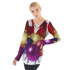 Candles Christmas Tree Decorations Women s Tie Up Tee