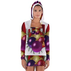 Candles Christmas Tree Decorations Women s Long Sleeve Hooded T-shirt