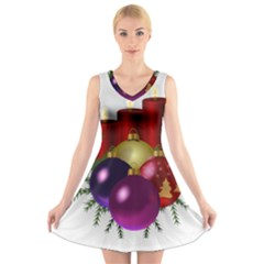 Candles Christmas Tree Decorations V-Neck Sleeveless Skater Dress