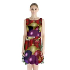 Candles Christmas Tree Decorations Sleeveless Chiffon Waist Tie Dress