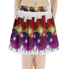 Candles Christmas Tree Decorations Pleated Mini Skirt