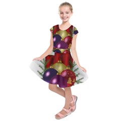 Candles Christmas Tree Decorations Kids  Short Sleeve Dress