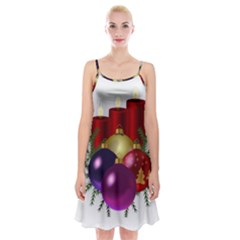 Candles Christmas Tree Decorations Spaghetti Strap Velvet Dress